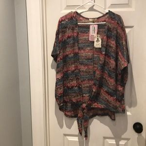 NWT Easel open front cardigan top SZ large